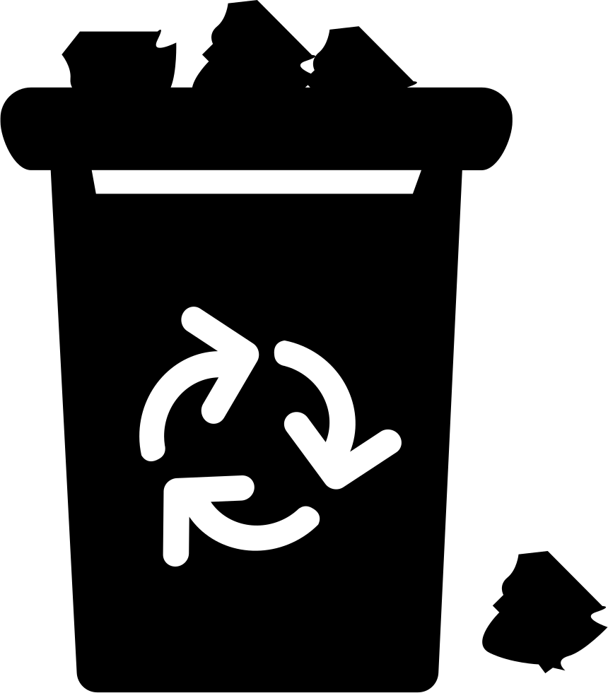 Garbage symbol png. With recycle sign overflowing