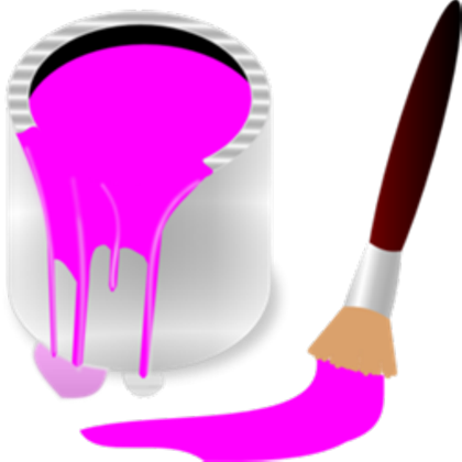 Bucket clipart ice cream bucket. Pink paint and brush