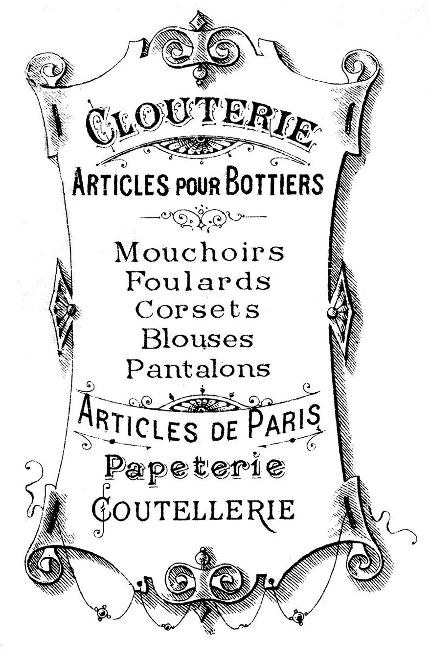 Clip art pretty french. Vintage clipart vintage sign image freeuse download
