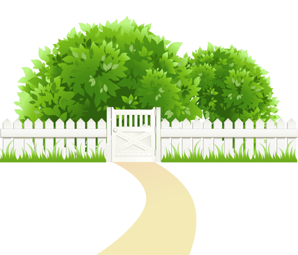 Garden path png. With fence and trees