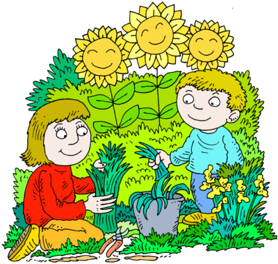 Garden png clipart. Image mother and son