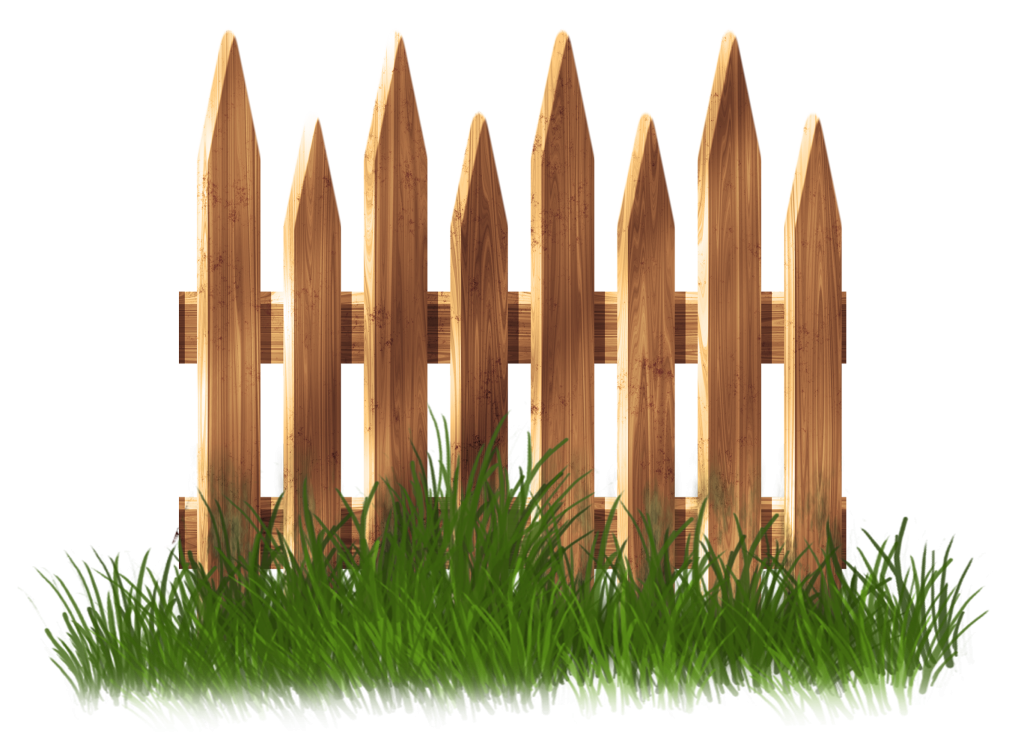Garden vector png. Wooden fence with grass