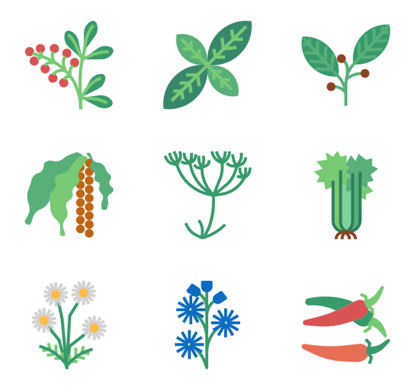 Environment vector. Garden icons free herb