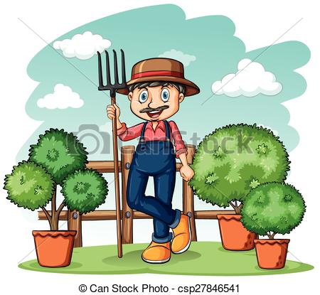 Happy with a rake. Gardener clipart svg freeuse stock