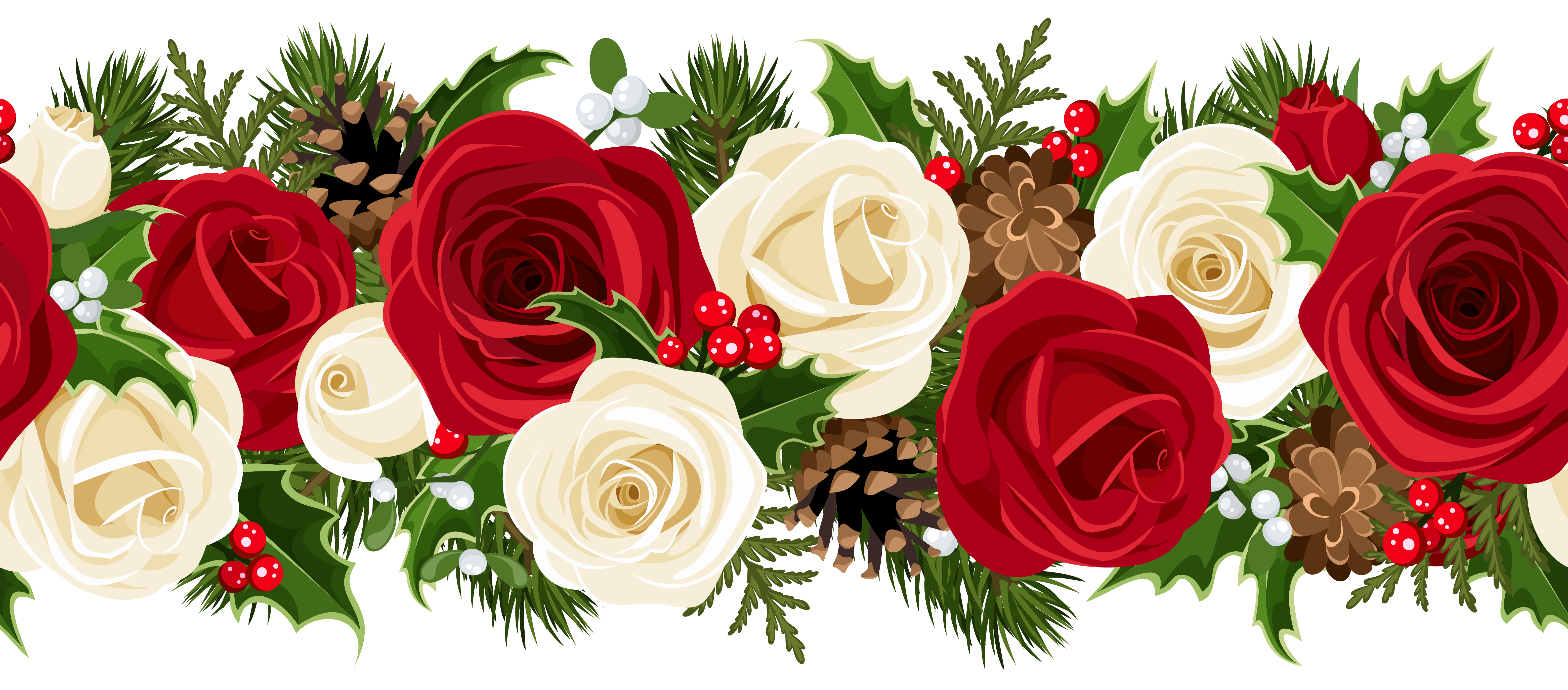 Christmas rose clip art. Garland png image image freeuse download