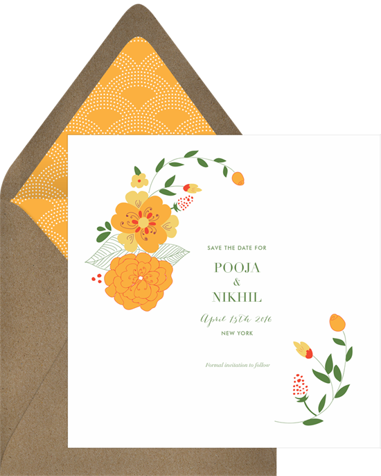 Garland clipart marigold. Save the dates in