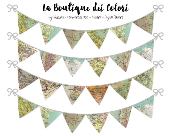 Garland clipart printable. World maps bunting banners