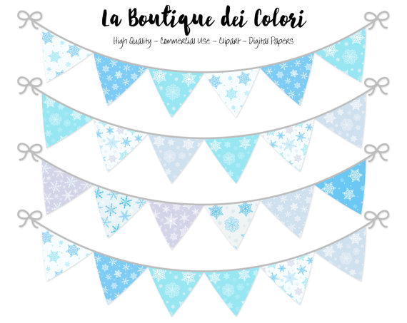 Snowing clipart turquoise. Winter bunting banners party