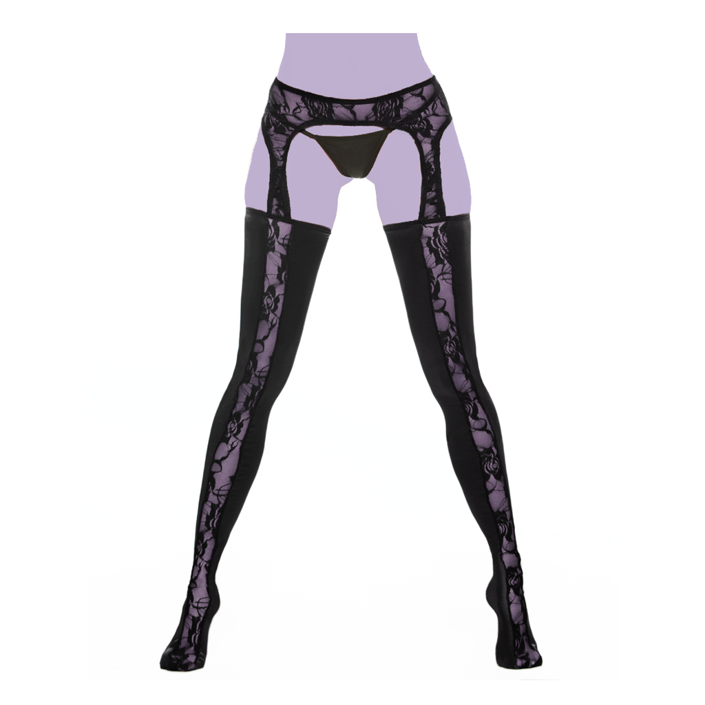 Garter clip. Lace with wetlook tights