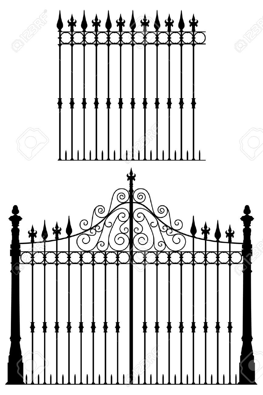Gate clipart cemetery gates. Wrought iron and modular