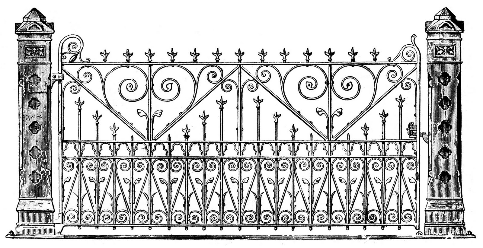 Gate clipart iron gate. Victorian clip art ornate