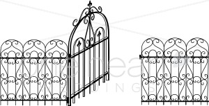 Gate clipart iron gate. Black and white ornate