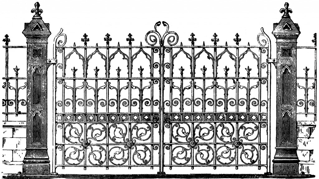Halloween clipart gate. Vintage image iron the