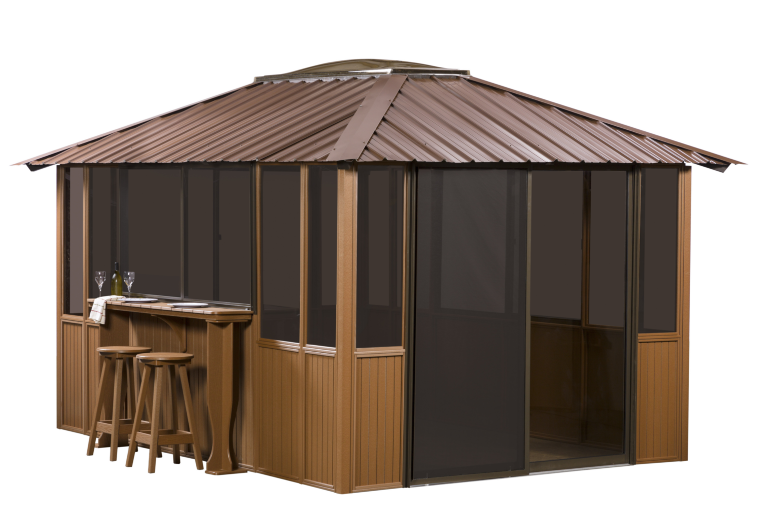 Gazebo drawing bbq. Outdoor living aspen spas