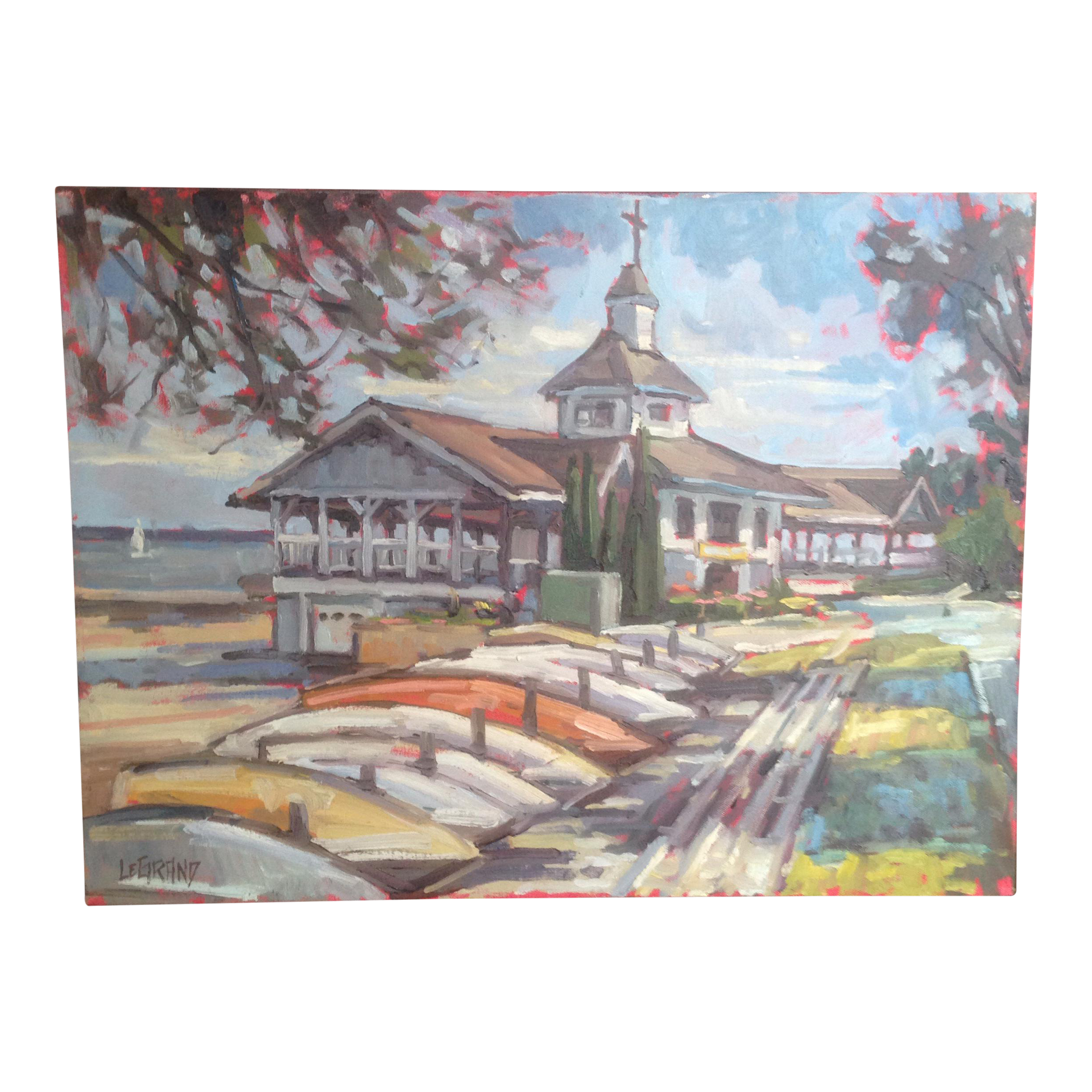 Gazebo drawing painting. Bright multicolored lakeside pavilion