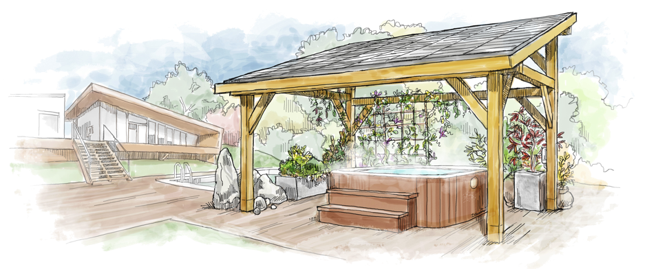 Gazebo drawing sketch. Over hot tub solar