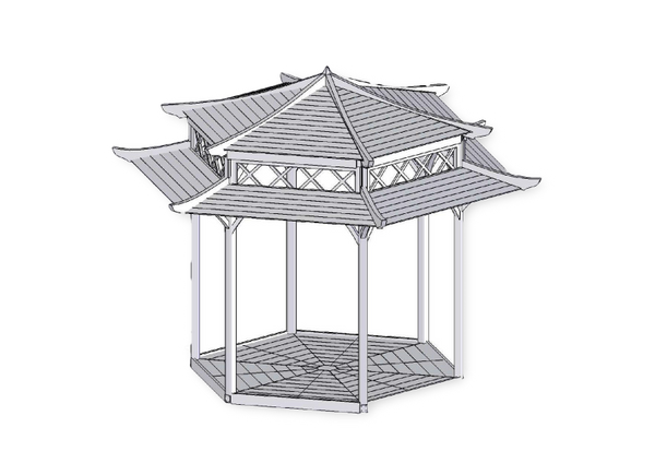 Gazebo drawing sketch. Garden wooden stunning japanese