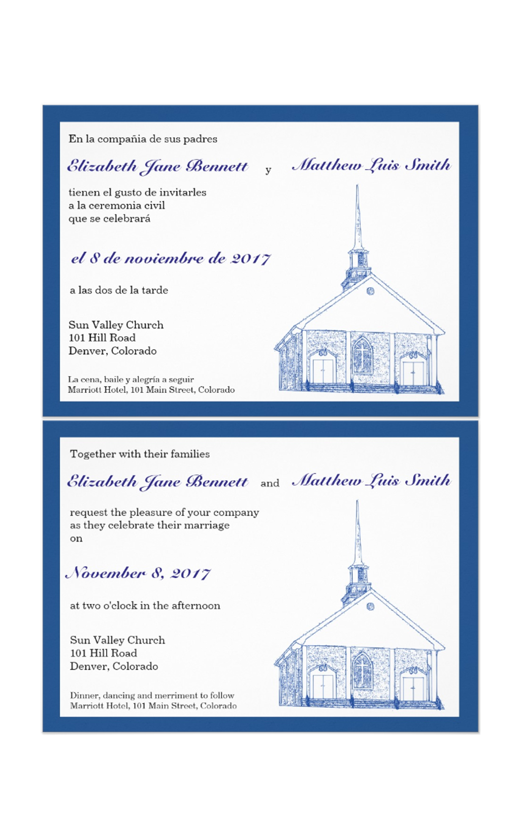 Bilingual blue chapel wedding. Double drawing traditional banner download
