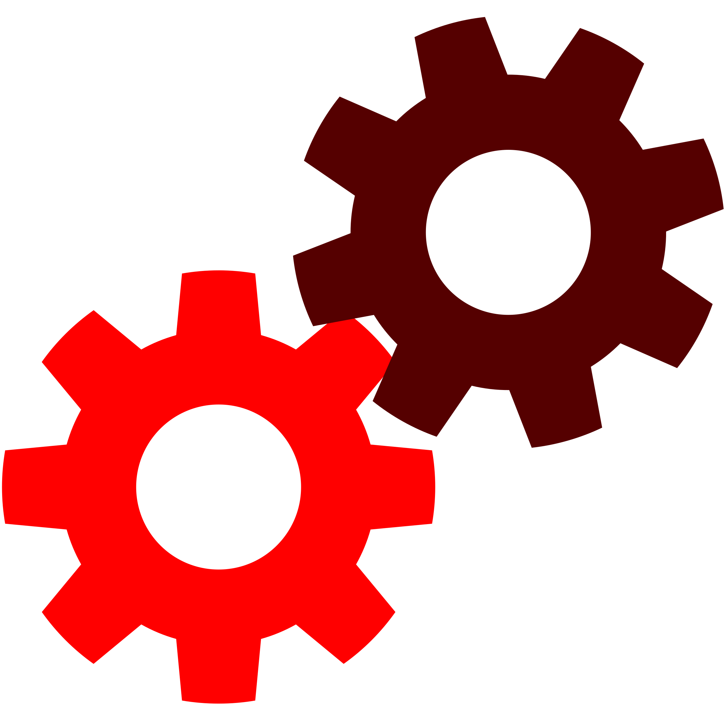 Gears png icon. In red icons free