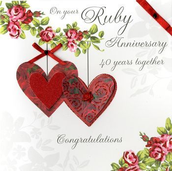 Gem clipart ruby wedding anniversary. Hand finished card large