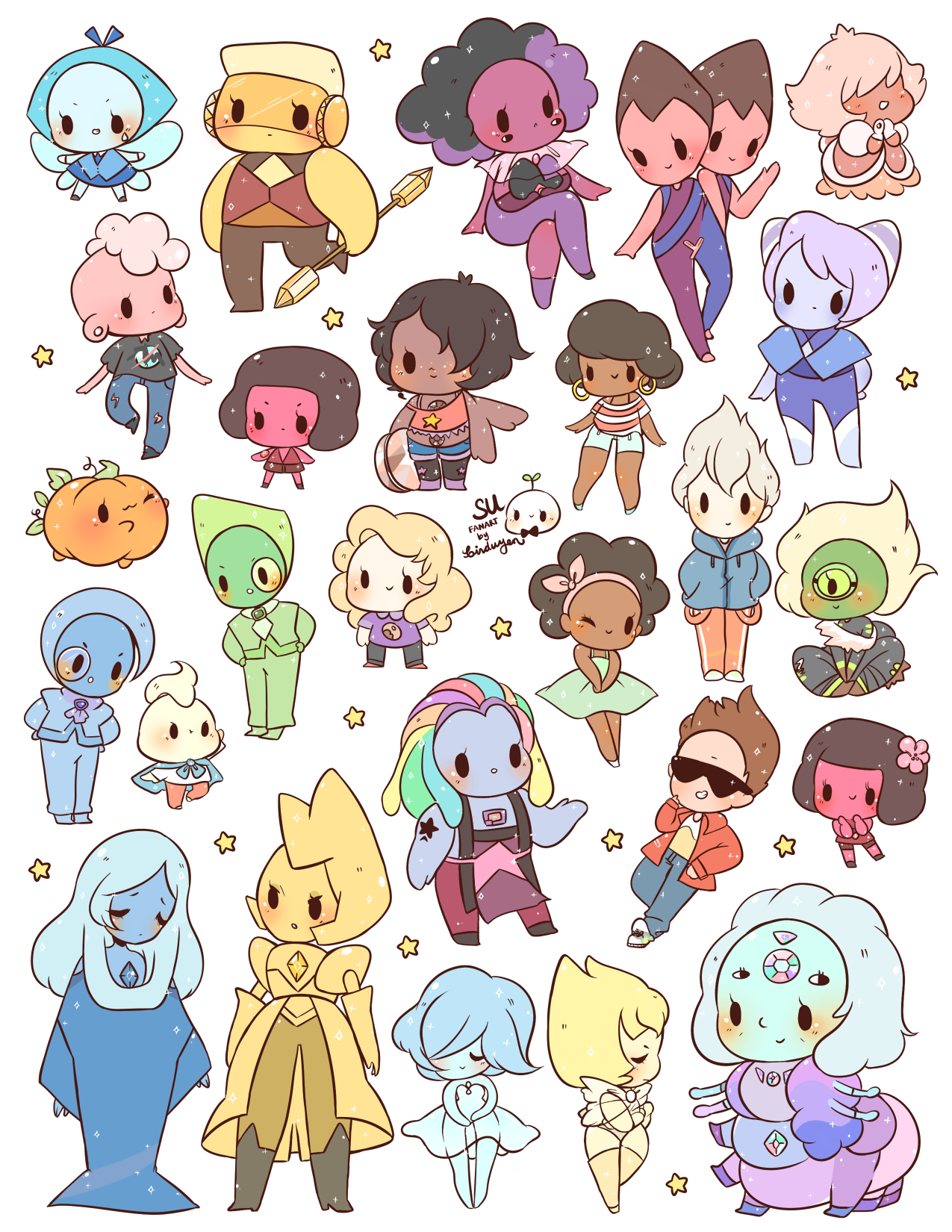 Transparent gem kawaii. New steven universe stickers