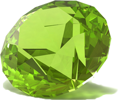 Gem transparent peridot. Gemstone of the month