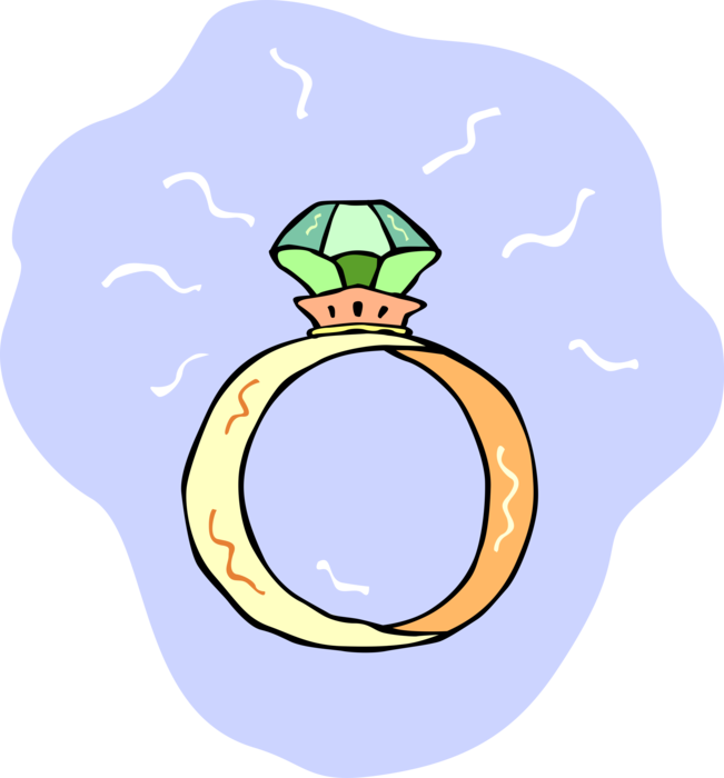 Emerald vector cartoon. Gold ring with gemstone