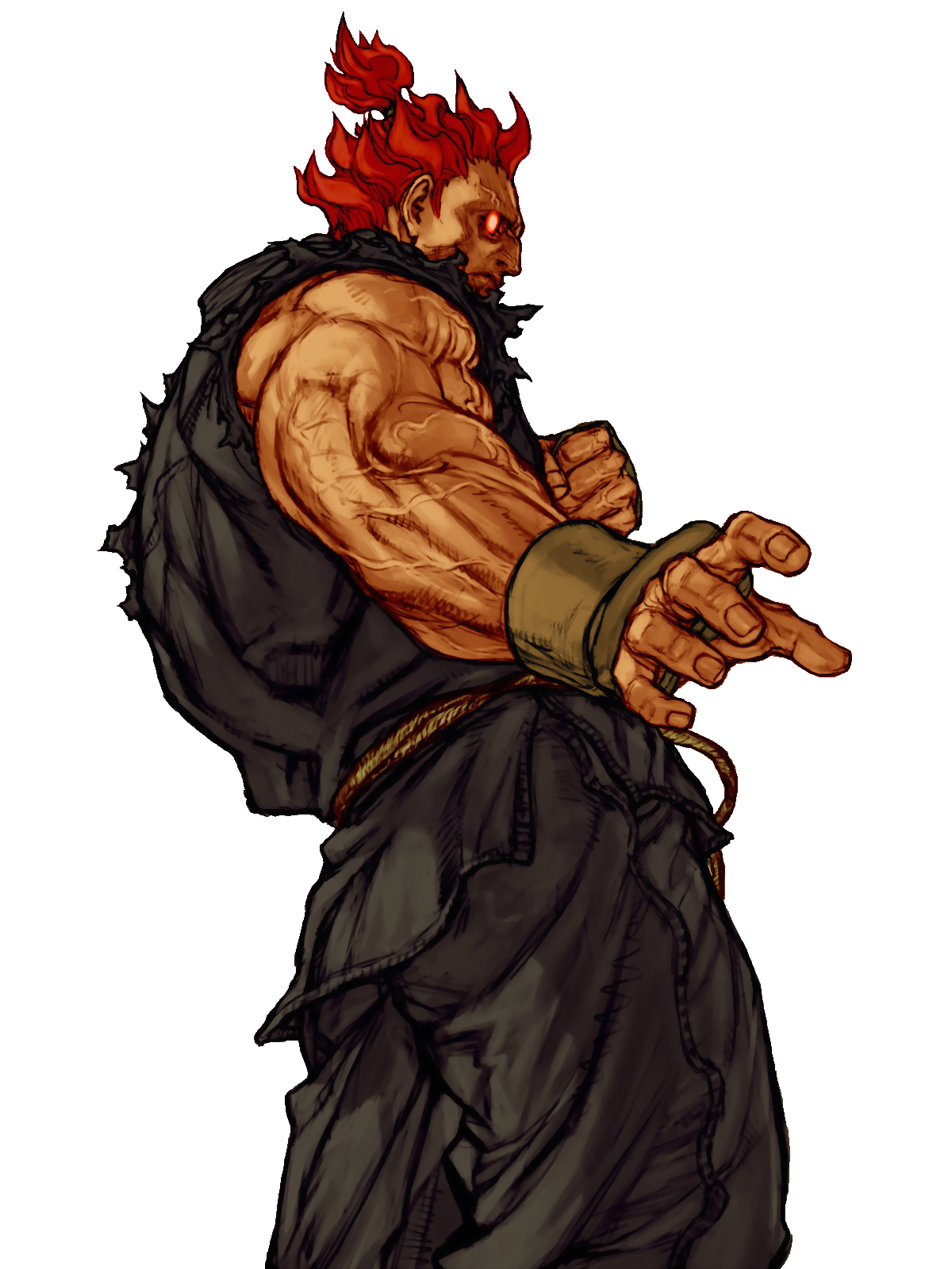 Akuma drawing blue