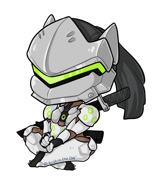 Genji head png. Chibi by xnekorux overwatch