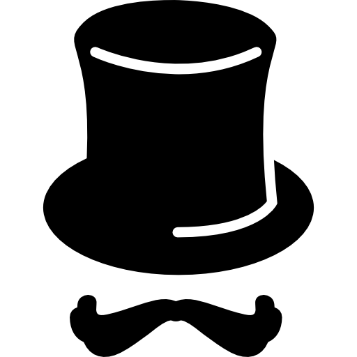 Gentleman vector english hat. Magicians with moustache icons