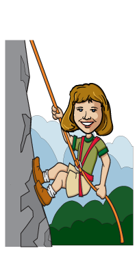 Climbing drawing female. A cartoon version of