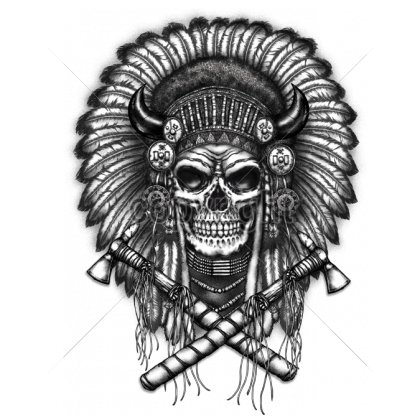 Geometric skull png. X indian headress