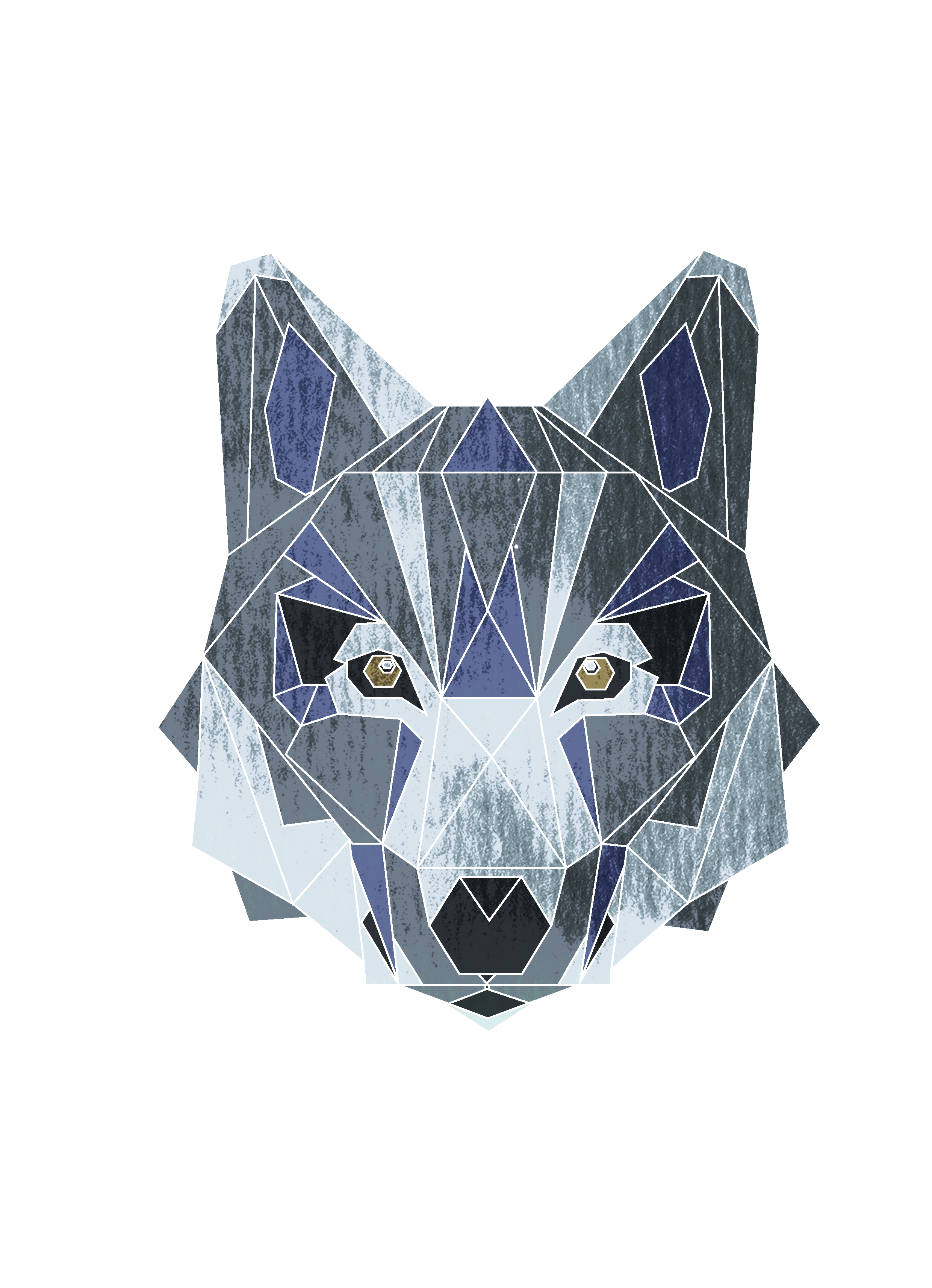Geometrical drawing fox. Personal project wolf char