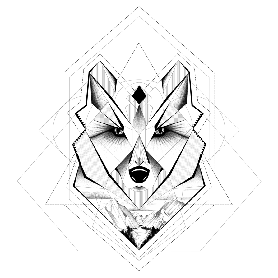 Drawing geometry black and white. My geometric wolf by