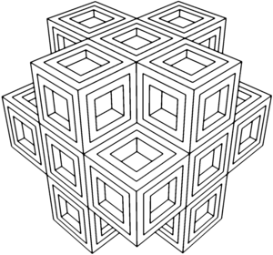 Geometrical drawing optical illusion. Geometry coloring pages for