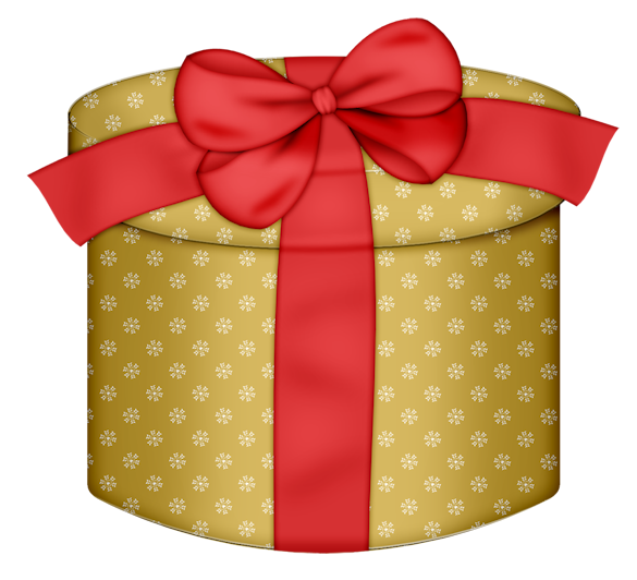 Get clipart gift. Yellow round box with