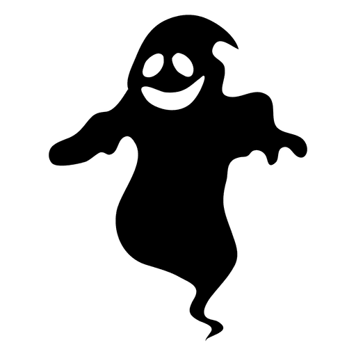 Ghost cartoon png. Black silhouette transparent svg