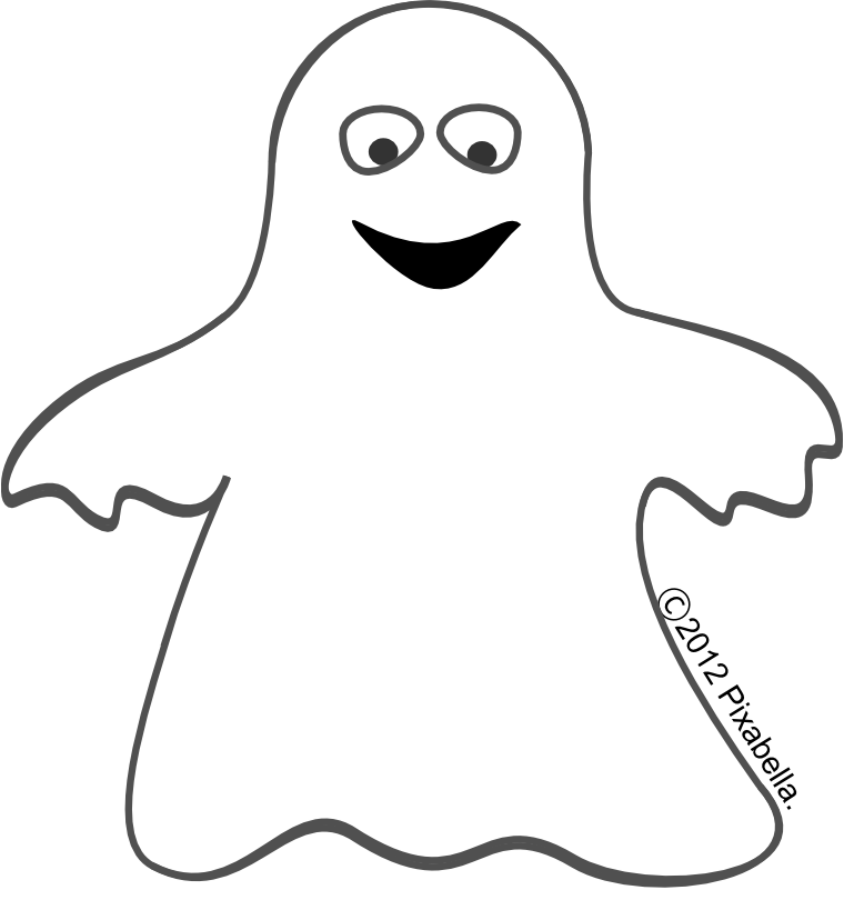 Ghost clip black and white. Cute halloween art