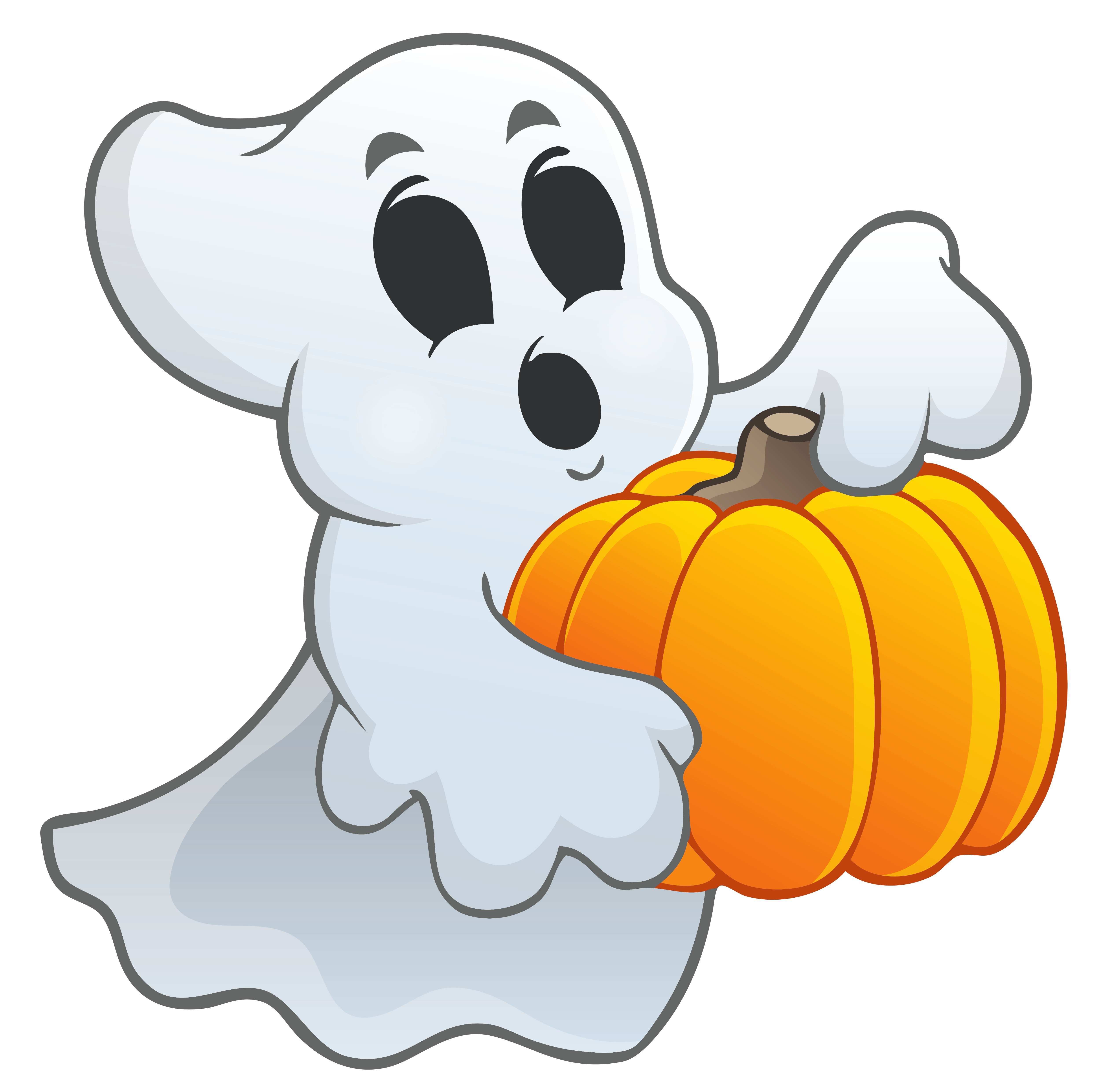 Ghost clip halloween. With pumpkin png picture