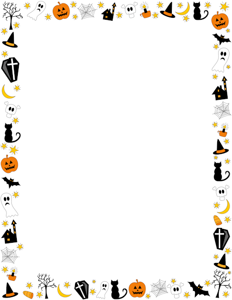 Ghost clipart border. Halloween featuring jack o