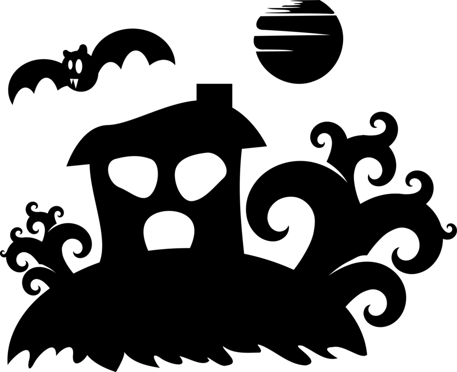 Drawing halloween haunted house. Silhouette download ghost free