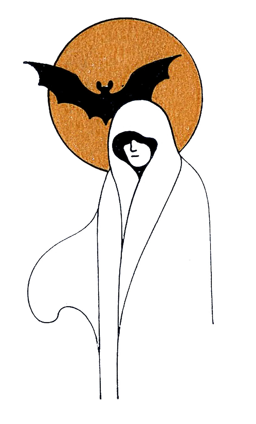 Ghost clipart white lady ghost. Vintage halloween clip art