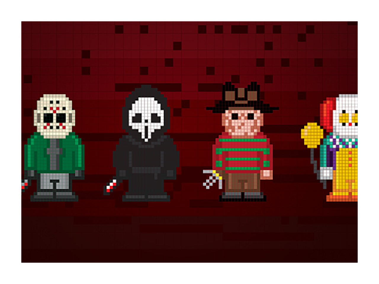Ghostface drawing scary movie mask. Illustration design pixel art