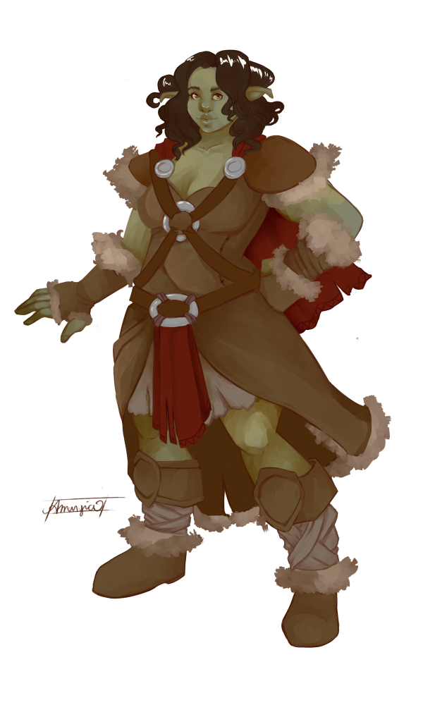 Giantess drawing orc. She commission by amaryia