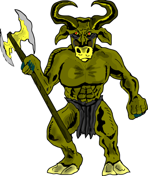 Giants drawing minotaur. Theseus and the greek