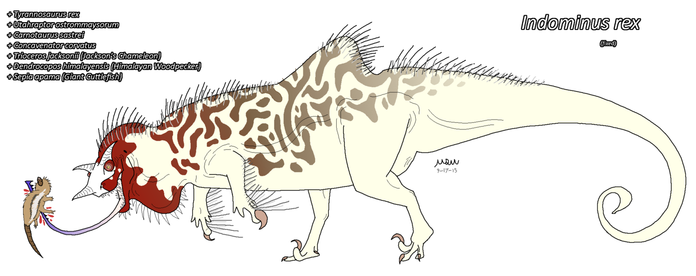 Indominus fixed by matthewonart. Hybrid drawing t rex freeuse