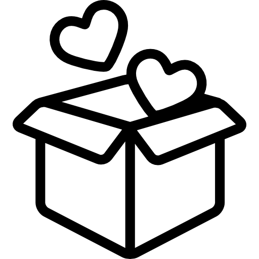 Gift box icon png. Open with two hearts