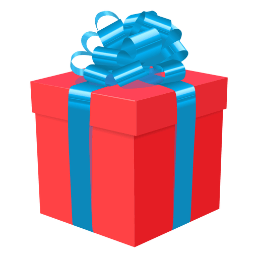 Transparent present gift. Red box blue bow