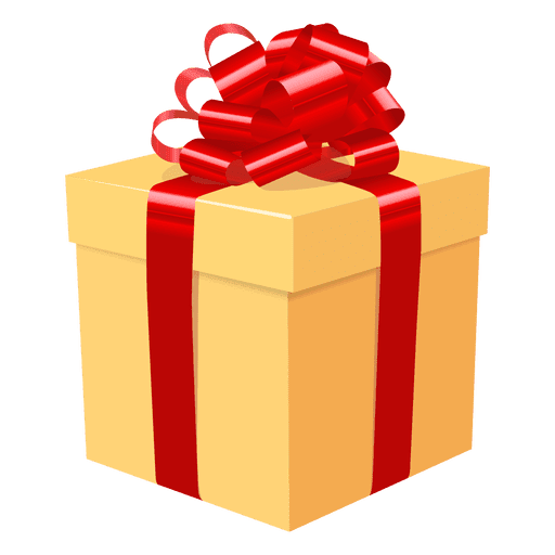 Gift box vector png. Yellow red bow icon