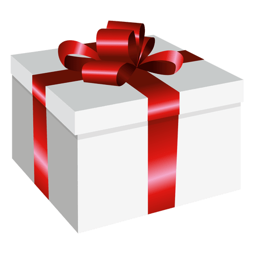 Vector present gift. Square wrapped box transparent